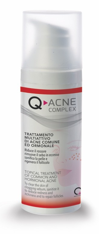 Q-ACNE COMPLEX е създаден за локално лечение на обикновено и хормонално акне.